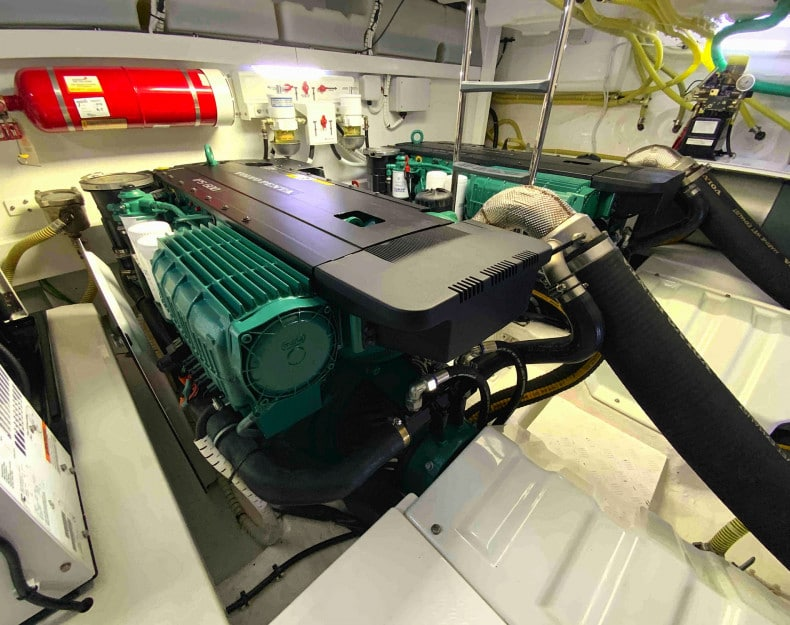 boat engine bay with volvo its