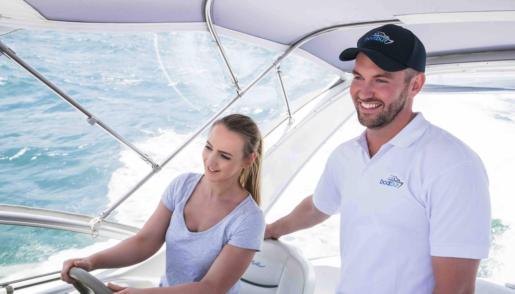 Rachael and Aaron on a Boat Lesson