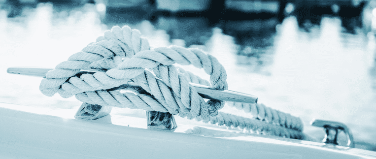 Picture of a rope tied around a cleat